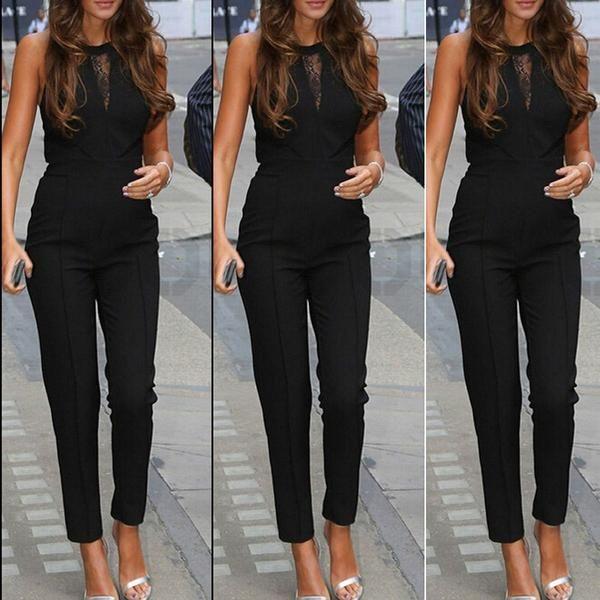 9c0f66da131 Elegant Rompers Women Jumpsuit Fashion Bodysuit Sleeveless Lace Patchwork  Romper Playsuits Long Pants Plus Size