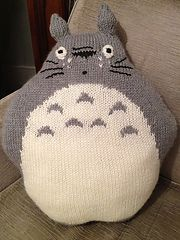This is my draft chart for a Totoro cushion, using worsted weight yarn and a size 4.5 or 5 UK needle. Totoro is knitted flat on straight needles, 1 front piece (shown in chart) and 1 back piece (follow chart without any colour work)