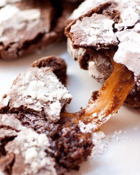 Salted Caramel-Stuffed Chocolate Crinkle Cookies
