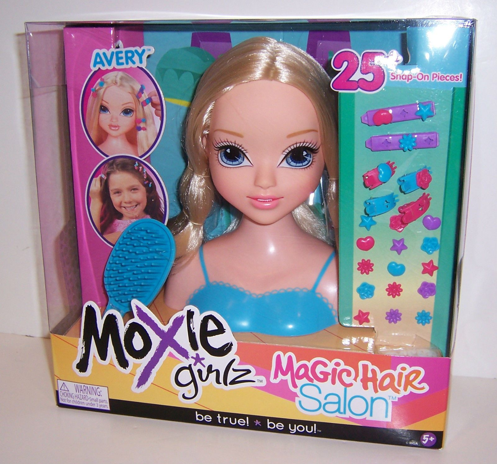 Moxie Girlz Girls Magic Hair Salon Avery Styling Head 25 Snap On Accessories New Ebay Magic Hair Style Makeover New Dolls