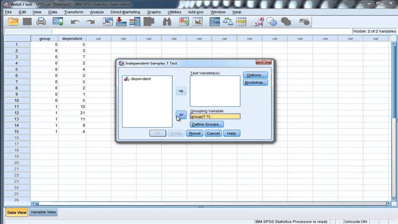 Welch's t-test (unequal variances) - SPSS I demonstrate how