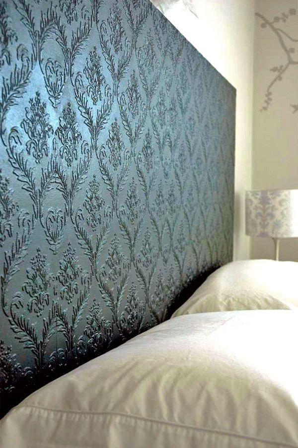 Diy Textured Wallpaper Ideas Not Just For Walls Ohmeohmy Blog Wallpaper Headboard Diy Wallpaper Headboard Home
