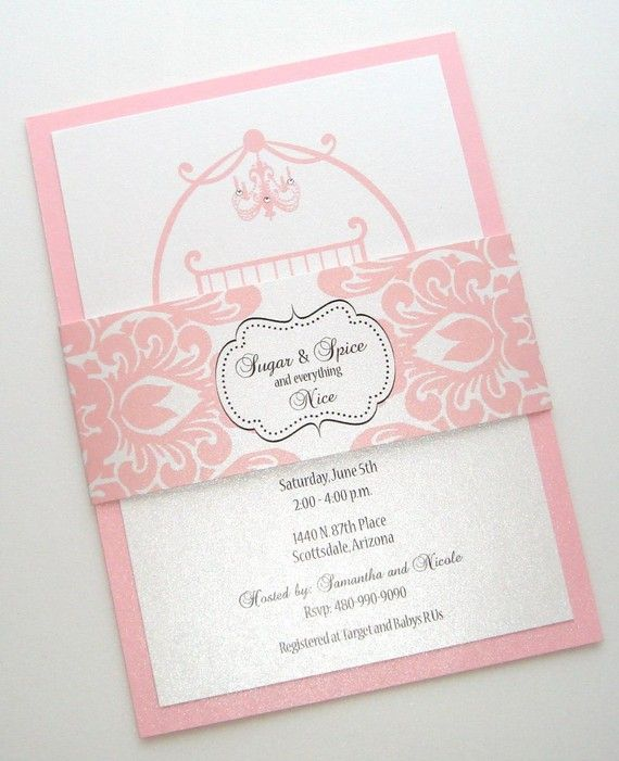 25 Sugar And Spice Baby Shower Invitations   Baby Girl Shower Invitation    Baby Girl Announcement   Pink Damask