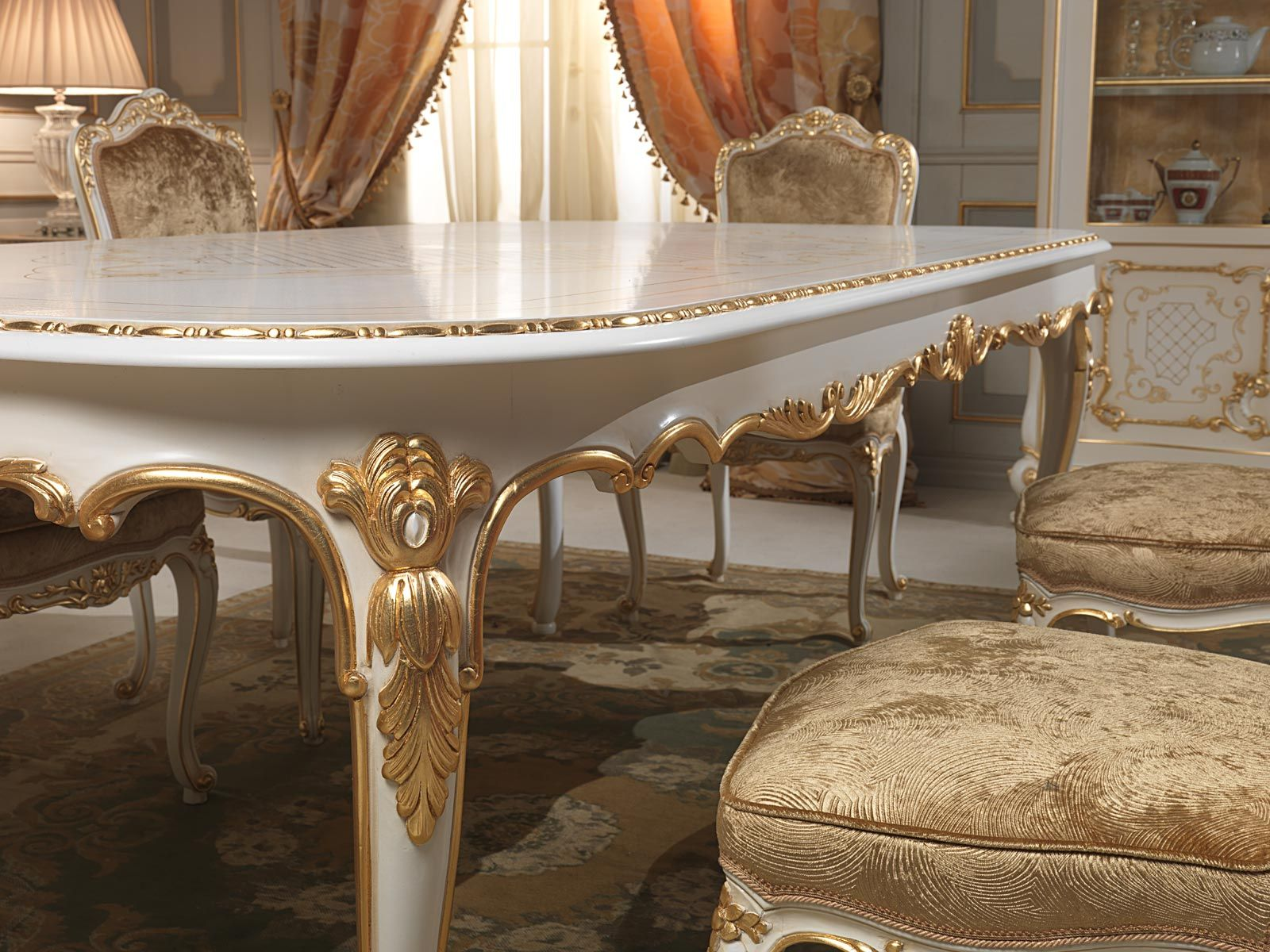 Dining Table In Louis XV Style With Golden Carvings Executed By Hand Venice Classic Luxury