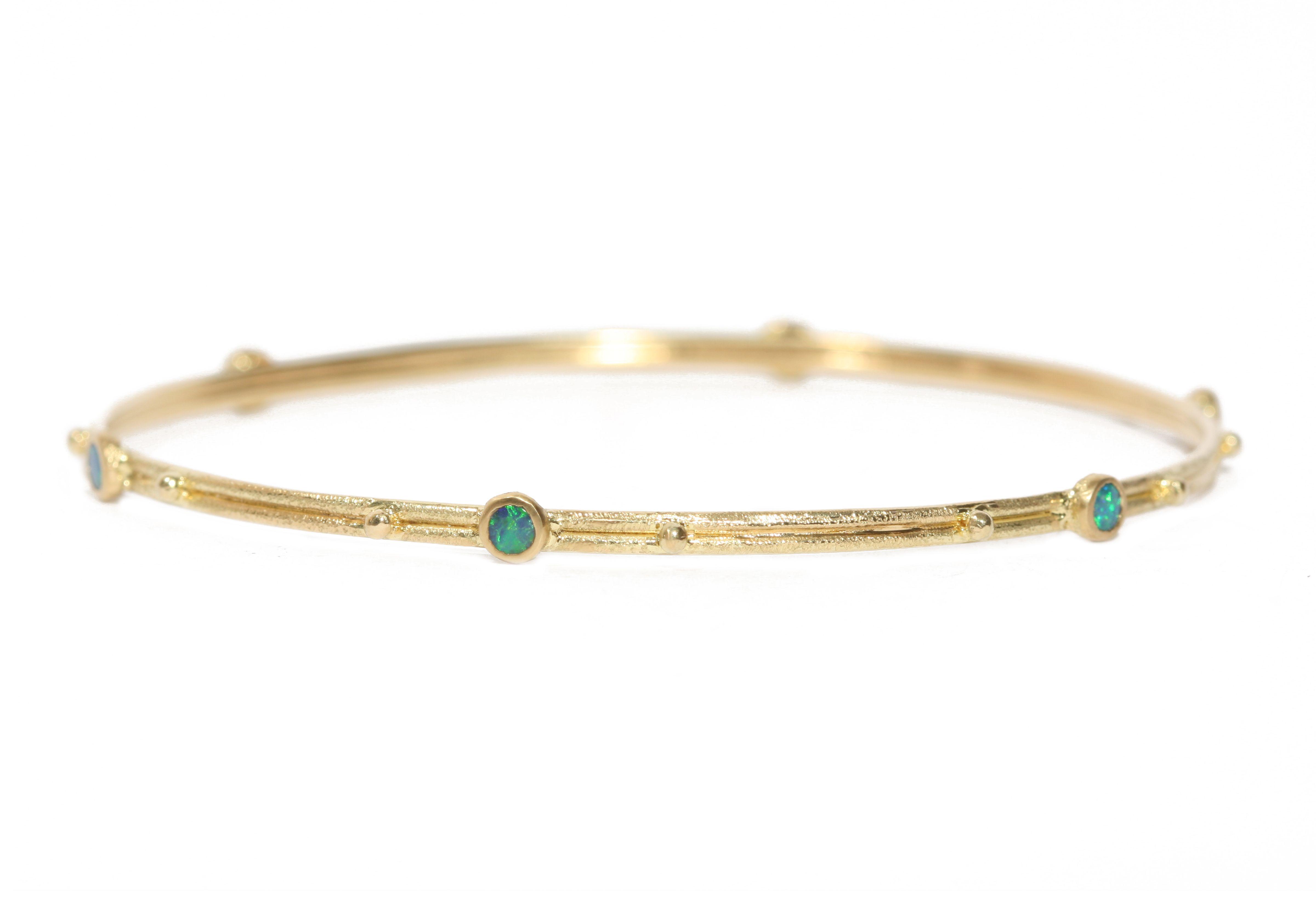 Armenta Old World 18k Gold Bangle Bracelet w/ Opals, Sapphires & Diamonds