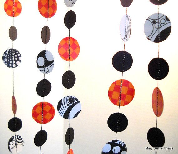Halloween Orange Black and White Paper Garland with original artwork - by MaryJeansThings, $18.00
