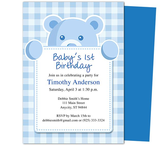 Beary Cute St Birthday Invitations Template Templates For A - Baby birthday invitation templates