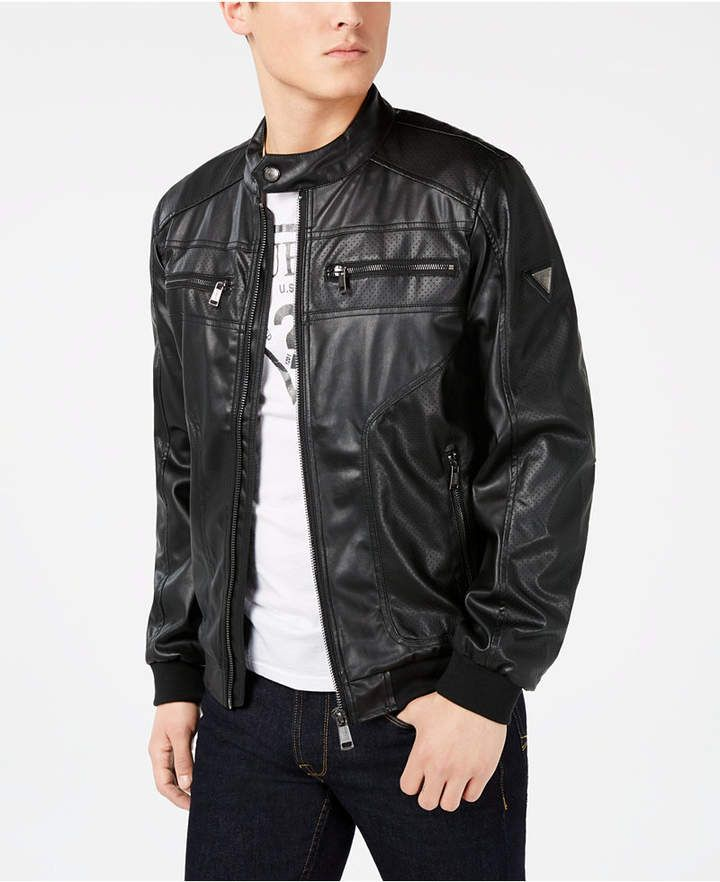 03d5c6663 GUESS Men Perforated Faux-Leather Jacket in 2019 | Products | Faux ...
