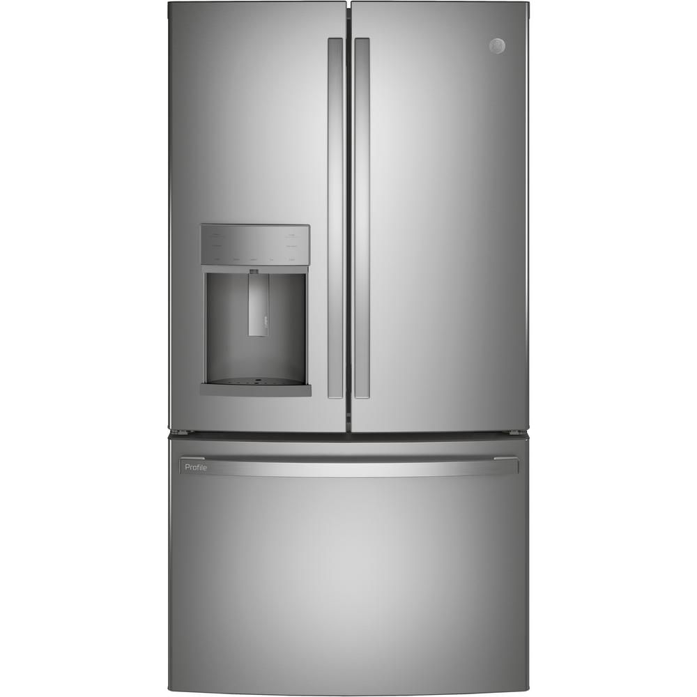 Ge Profile 22 1 Cu Ft French Door Refrigerator With Door In Door In Fingerprint Resistant Stainless Steel In 2020 French Door Refrigerator French Doors Counter Depth