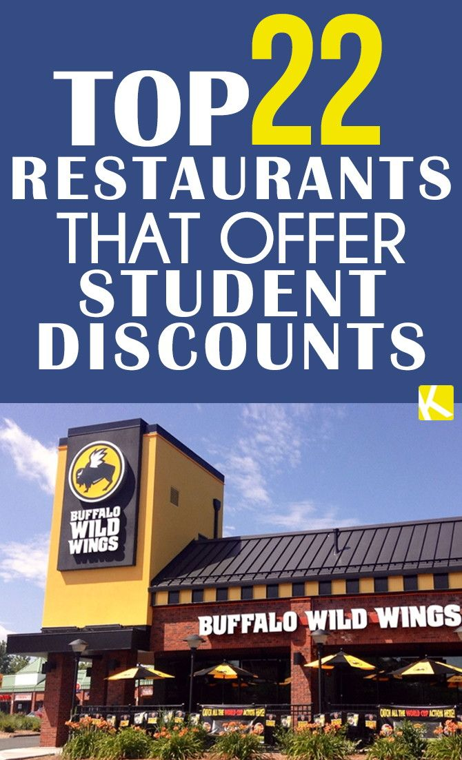 Check out this list of popular food places to get a discount and don't be afraid to ask local vendors what they can do to hook a student up! 1. Arby's: Craving a late night roast beef? Save 10% off your midnight munchies. 2. Buffalo Wild Wings: Many locations offer 10% off your meal with a student ID. Go ahead and get those extra wings.