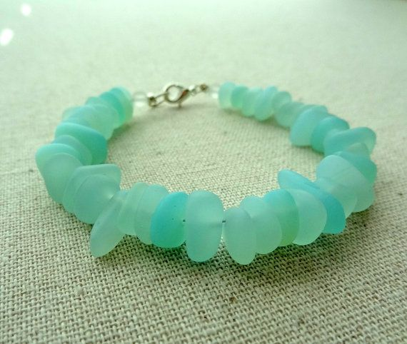Opaque Seafoam Green Sea Glass Pebble Bracelet, $18, by cjsseashop.  Click the picture for more info.  Use coupon code CJSPIN10 for 10% off of your purchase!