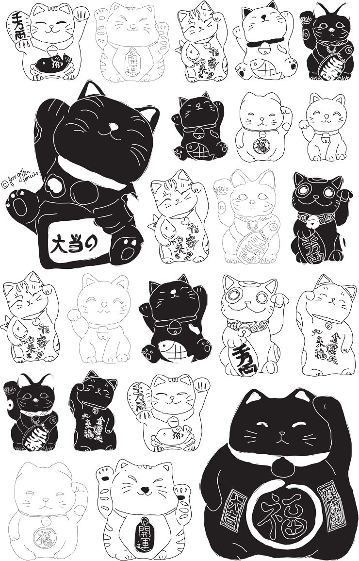 lucky cat drawing Google Search … Lucky cat tattoo