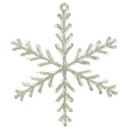 Silk Plants Direct Glitter Snowflake Ornament (Pack of 12) - Clear Green