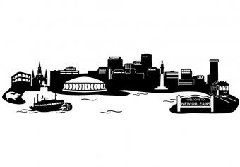 New Orleans Skyline Silhouette Design You Can See The Most Important Buildings It S Isolated And It New Orleans Skyline New Orleans Tattoo Skyline Silhouette