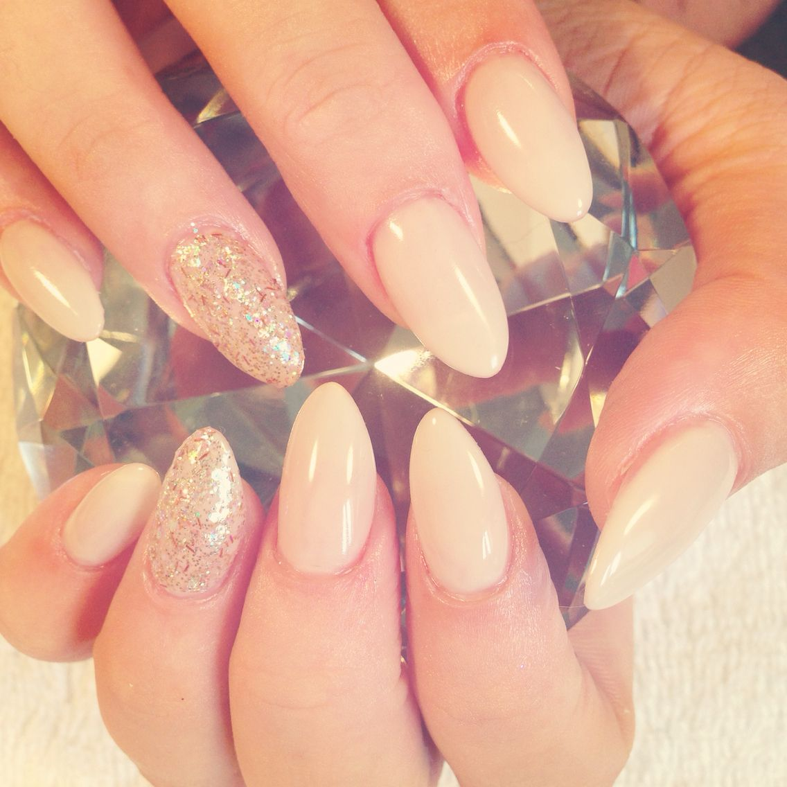 Nude and gold almond shape acrylic nails | New nail ideas ...