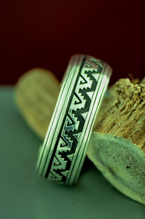 Navajo Sterling Silver Mountain And Water Bracelet By Rosita