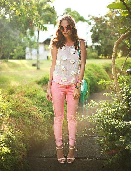 Pink skinnies #riverislandstyle