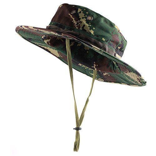 ca9efa15 Kaisifei Mens Military Camo Hat Woodland Digital- Boonie Hat (Dark Green)  Kaisifei http