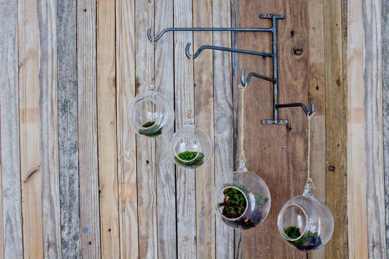 FOUR Handblown Glass Terrariums on Steel Swing Rack mobile hanger hook indoor garden votive holder. $158.00, via Etsy.