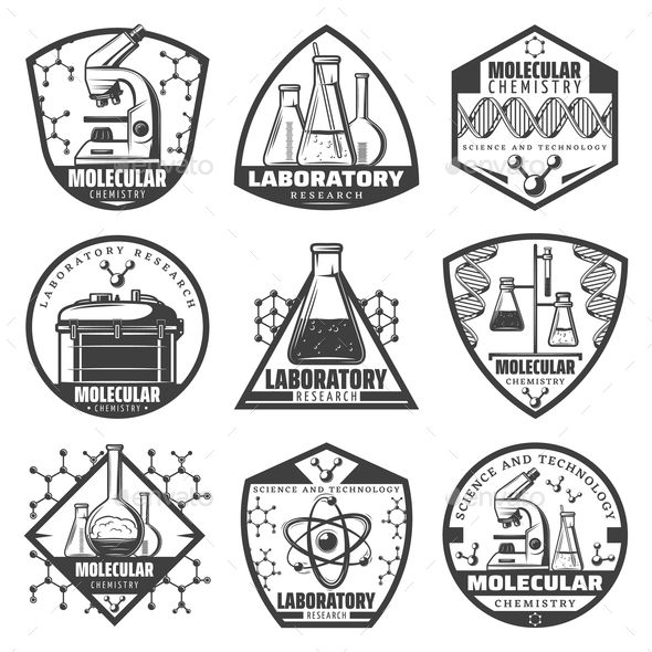 Vintage Monochrome Laboratory Research Labels Set (With