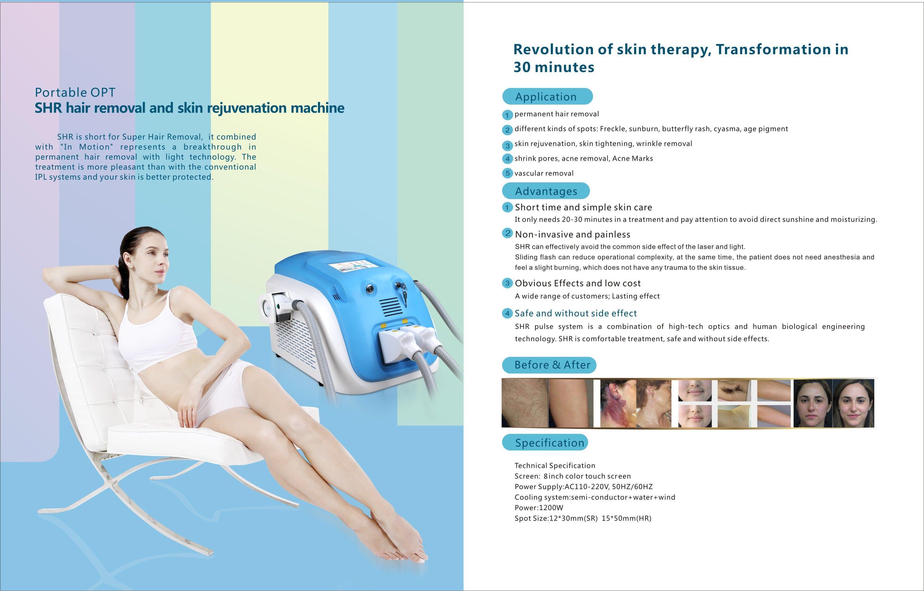 Desktop Shr Ipl Machine Ipl Skin Rejuvenation Hair Removal Permanent