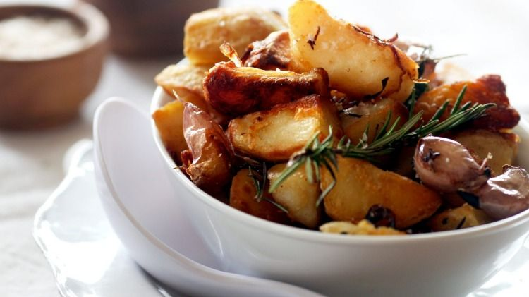Duck-fat roasted potatoes with garlic and rosemary