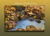 Happy Thanksgiving autumn leaves falling around a country stream card #autumnlea...,  #Autumn... #autumnleavesfalling