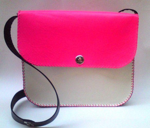 Bright Pink + White & Black Cross Body Messenger.