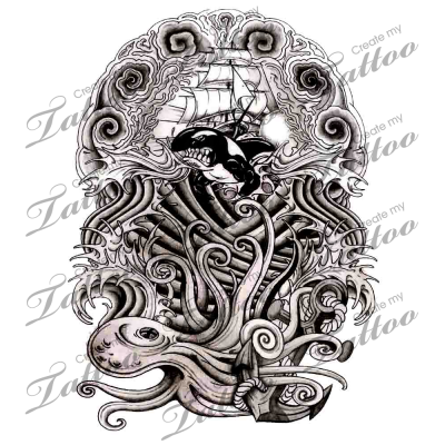 Nautical Themed And Japanese Styled Half Sleeve Tattoo Design Custom Tattoo Design Nautical Tattoo Japanese Tattoo Designs