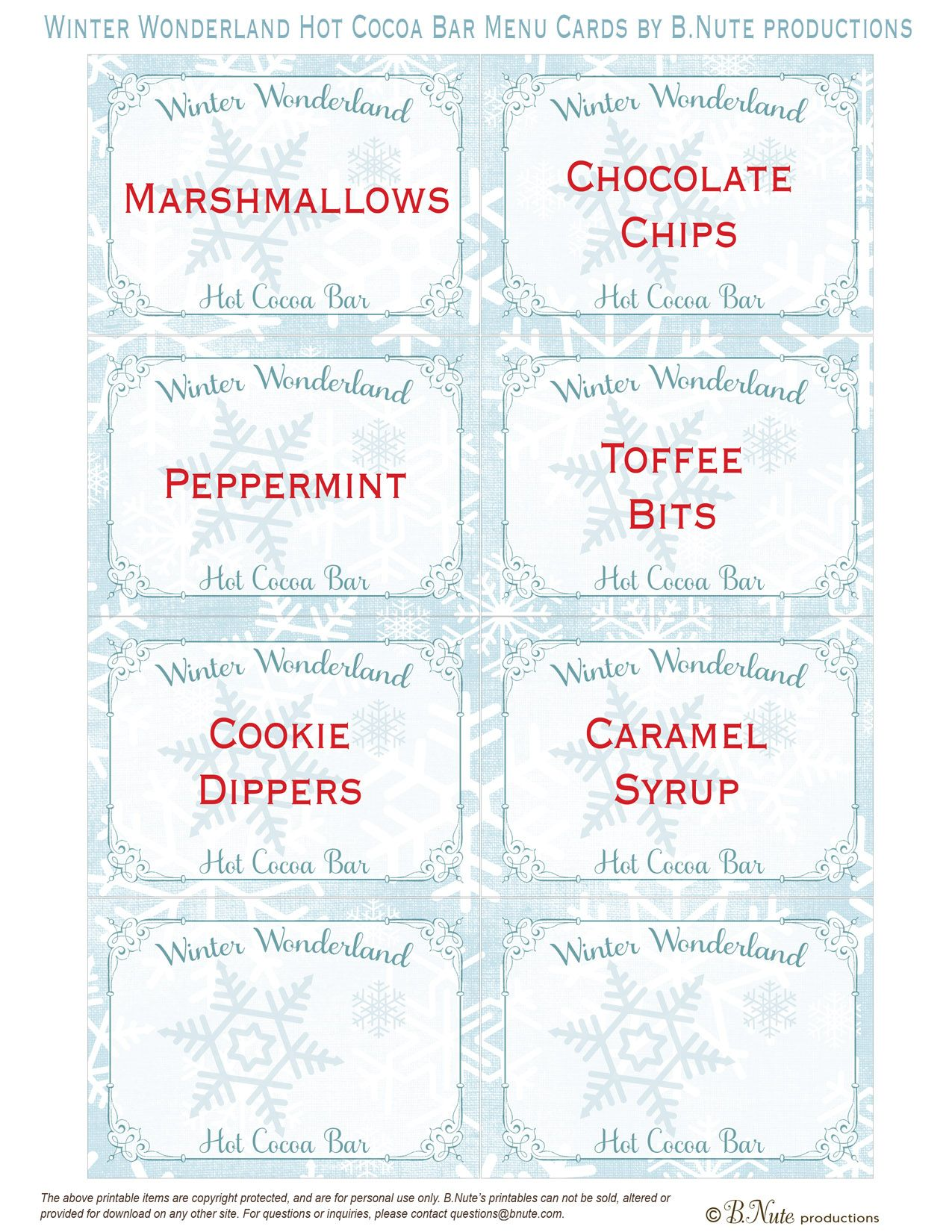 Free Printable Winter Wonderland Hot Cocoa Bar Menu Cards By B Nute Productions Hot Cocoa Party Hot Cocoa Bar Printables Cocoa Party