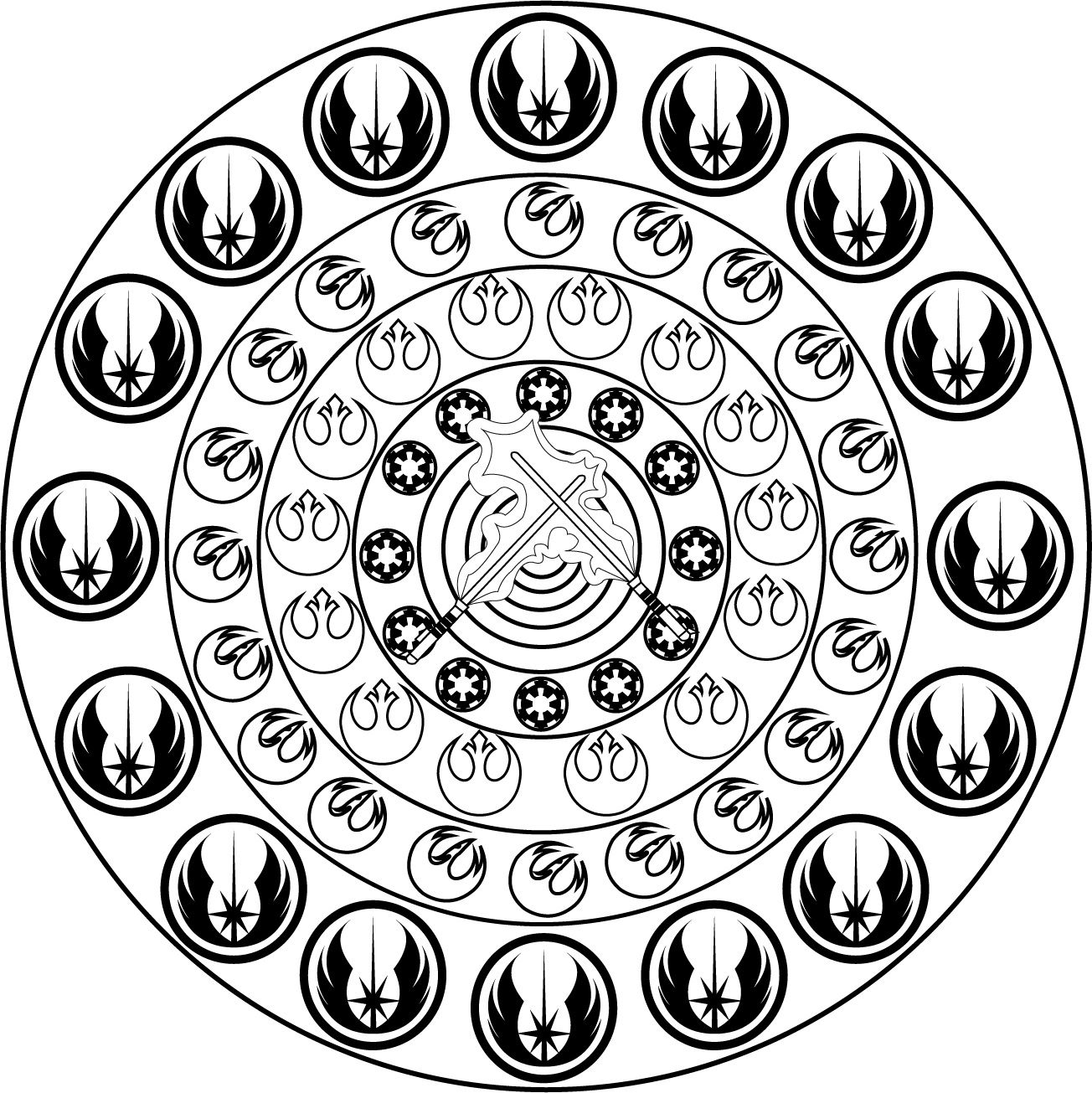 Color this Mandala inspired by Star Wars featuring the logo of the ...