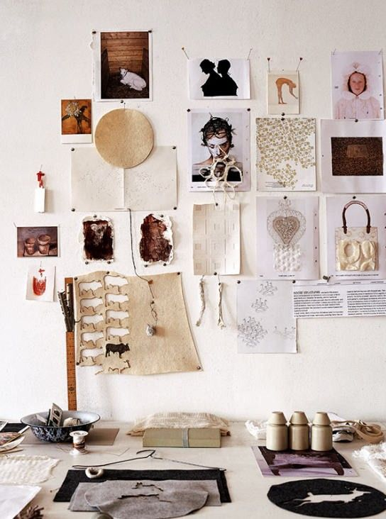 A mix of objects hangs from the wall by Russell Smith