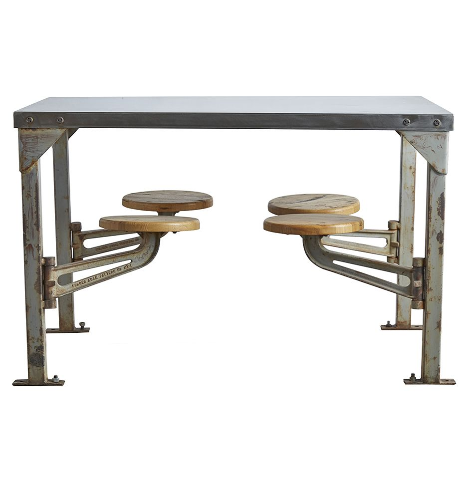 Industrial Swing Arm Mess Hall Table W Polished Top Circa 1940s F5719 Home Office Decor Vintage Dining Table Home Decor