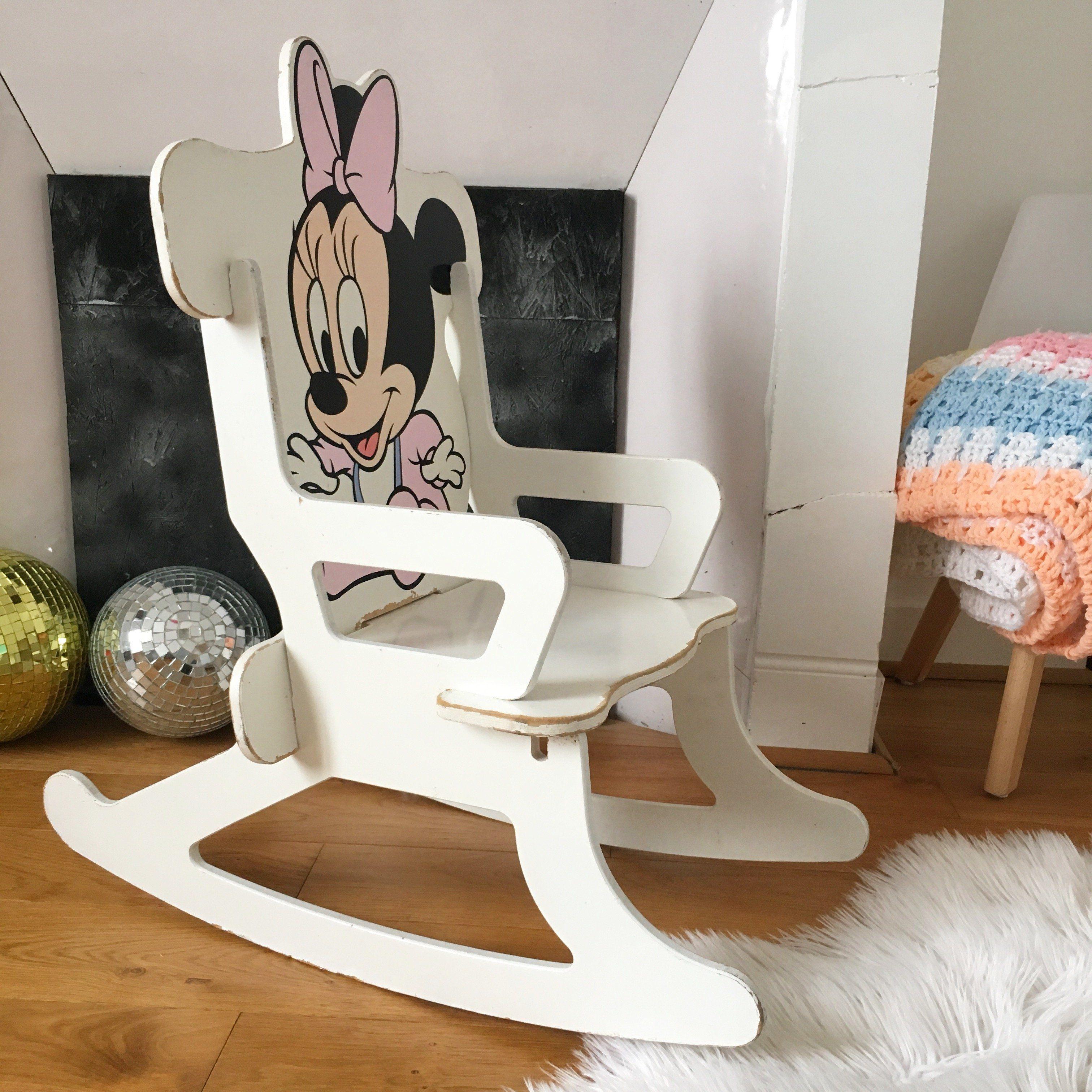 Orangevertevintage Chaise A Bascule Rocking Chair En Bois Pour Enfant Disney