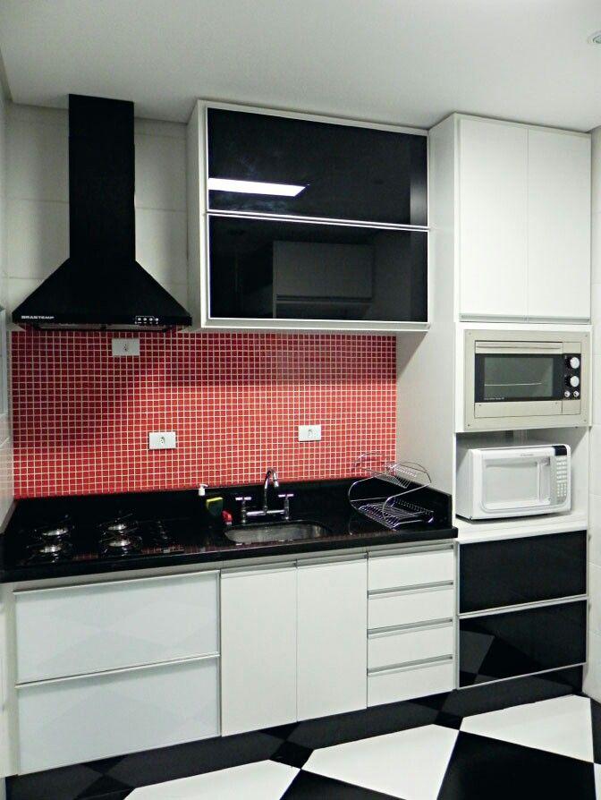 Cozinha Branca E Vermelha Decoracao Cozinha Cozinhas Modernas
