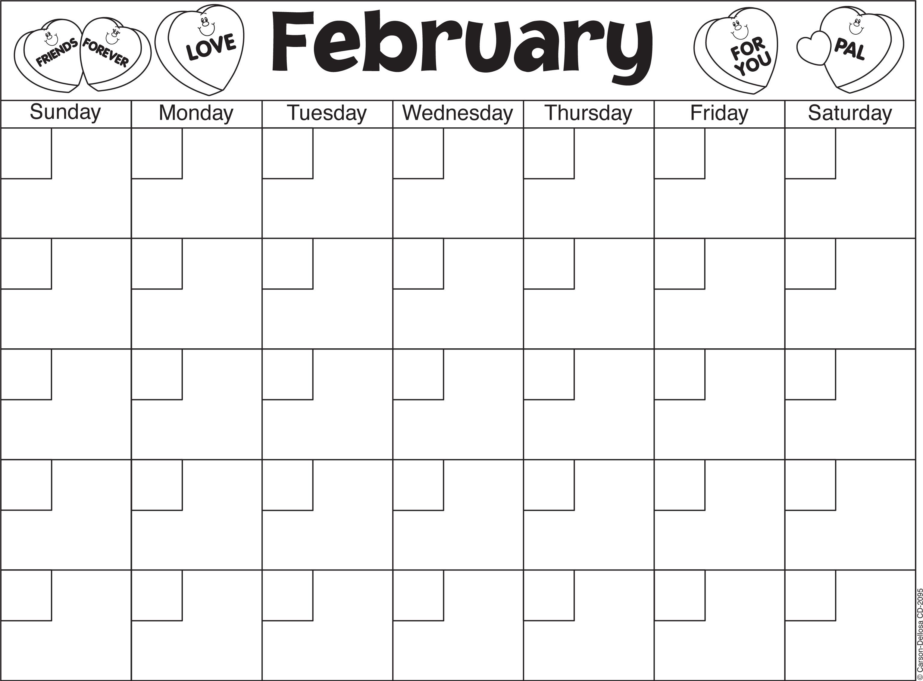 February Calendar Template  Winter  Winter Holidays