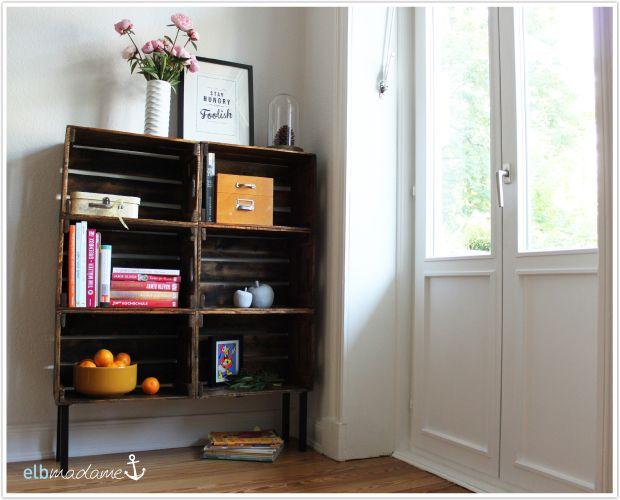 pin von steffi von kreativoderprimitiv auf upcycling paletten kisten regal obstkisten regal. Black Bedroom Furniture Sets. Home Design Ideas