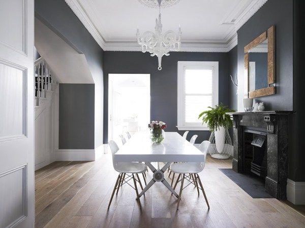 Murs gris moulures plafond blanc | moulures | Plafond blanc, Mur ...