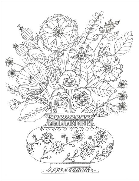 Birds And Botanicals Coloring Collection From Knitpicks Com Knitting By Kimball Margaret On Sal Mandala Coloring Pages Flower Coloring Pages Coloring Books