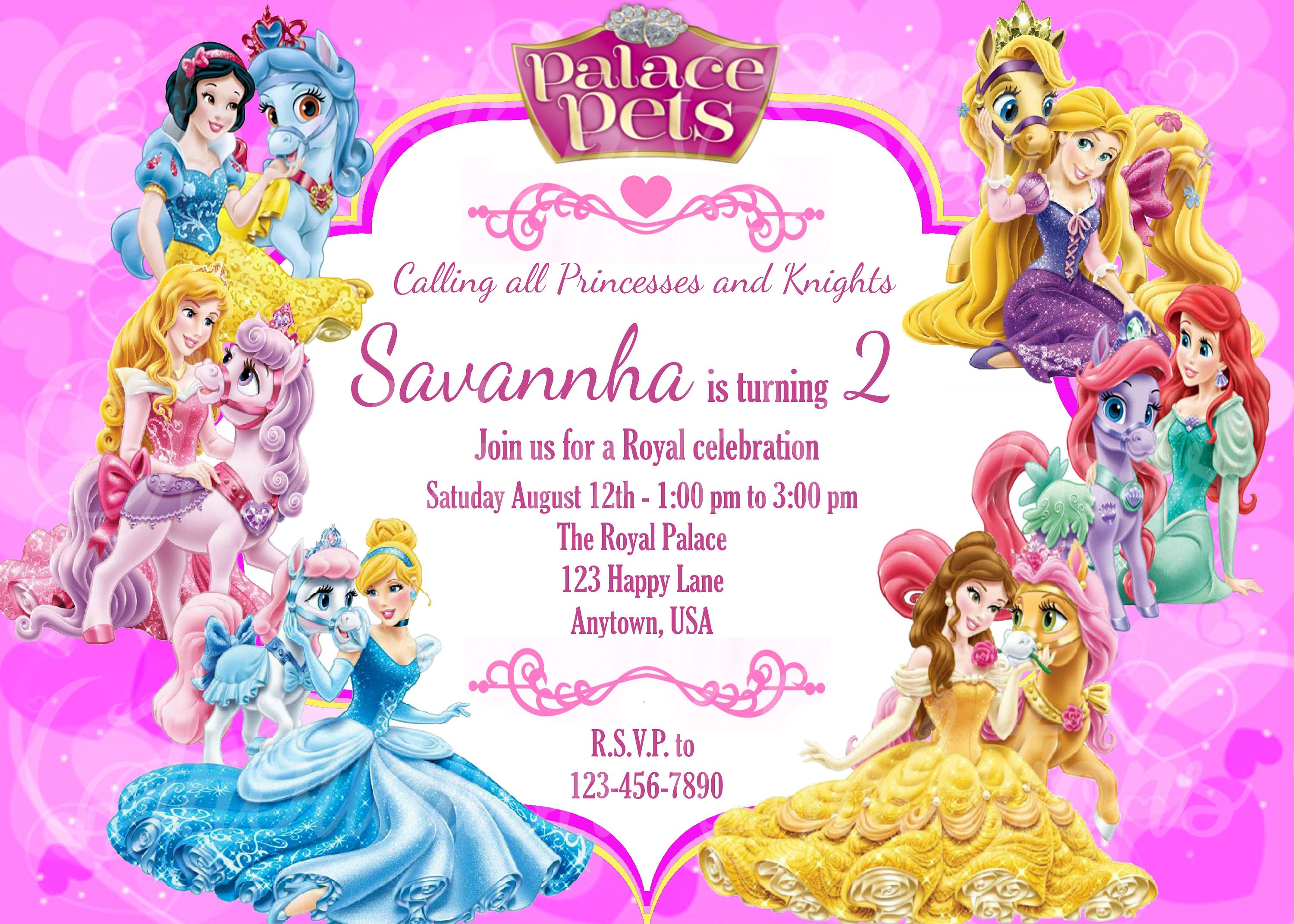 Princess and Palace Pets Party Invitation Disney Princesses with