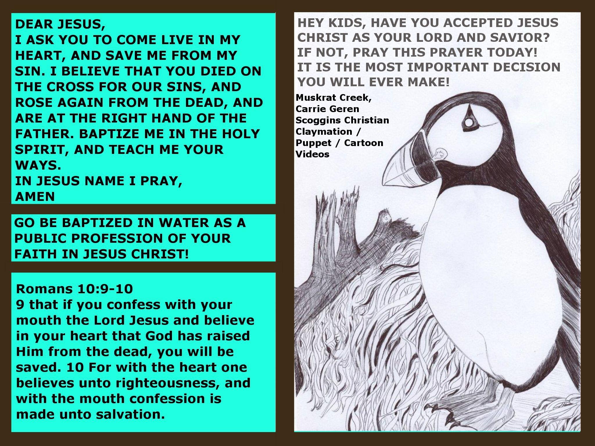 PRAYER OF SALVATION FOR KIDS, FROM MUSKRAT CREEK, CARRIE
