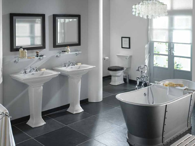 Refined Gray Bathroom Ideas Design And Remodel Pictures Gray - Gray bathroom accessories set for bathroom decor ideas