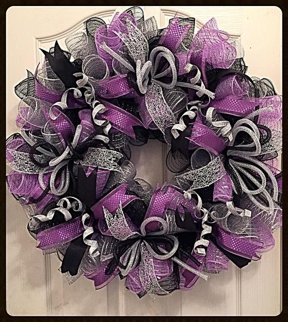 Photo of Lavender, Silver and Black Everyday Deco Mesh Wrearh / Lavender Wreath / Black Wreath / Silver Wreath / Lavender, Silver and Black Wreath