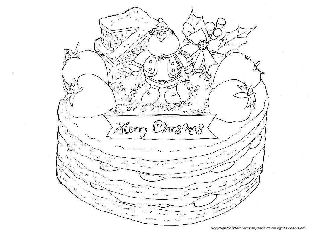クリスマスケーキの下絵クリスマスの塗り絵 Christmas Coloring