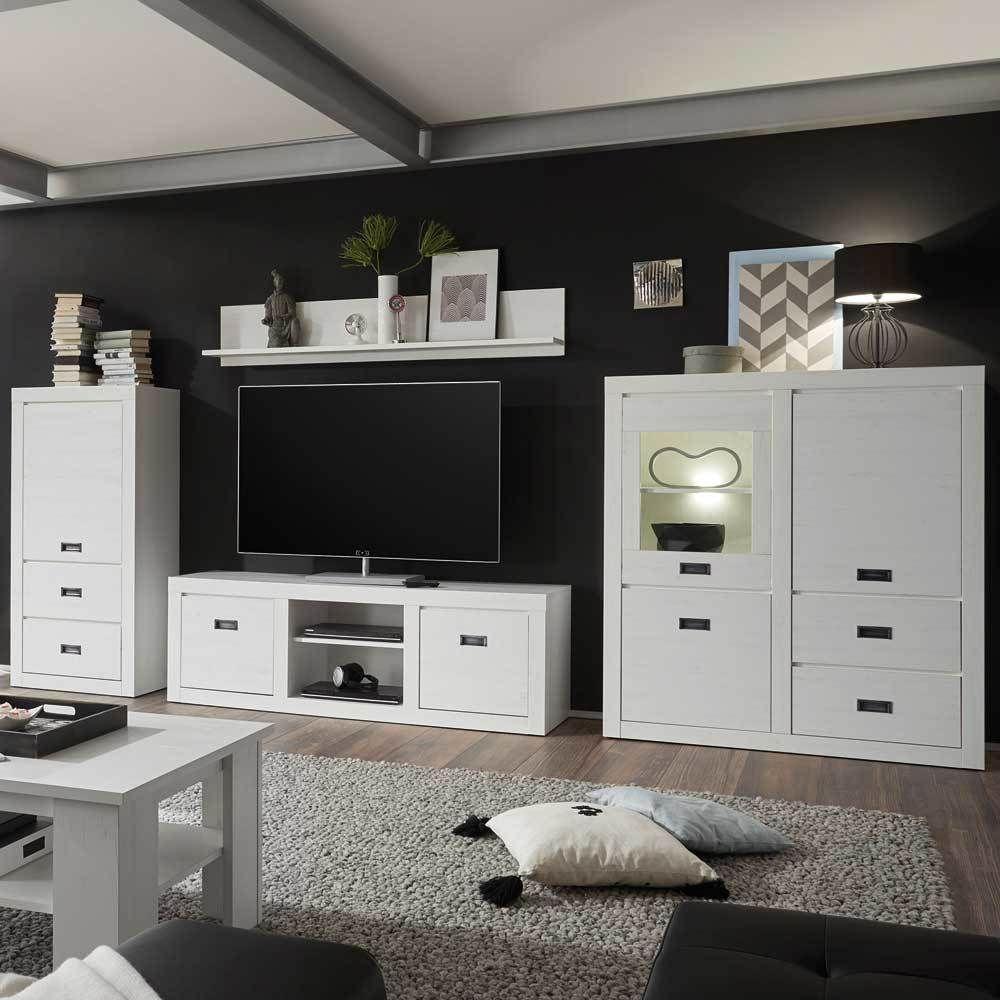 Wohnzimmer Wohnwand In Pinie Weiß 380 Cm Breit (4 Teilig) Jetzt Bestellen  Unter