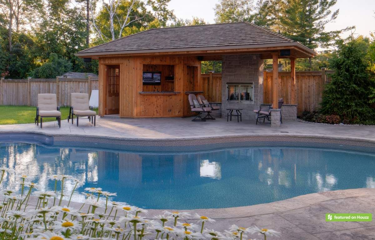 One of the highlights of this backyard is the natural ... on Small Pool Cabana Ideas id=54267