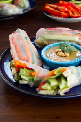 Vegan summer rolls with spicy peanut dressing (gluten-free and paleo).