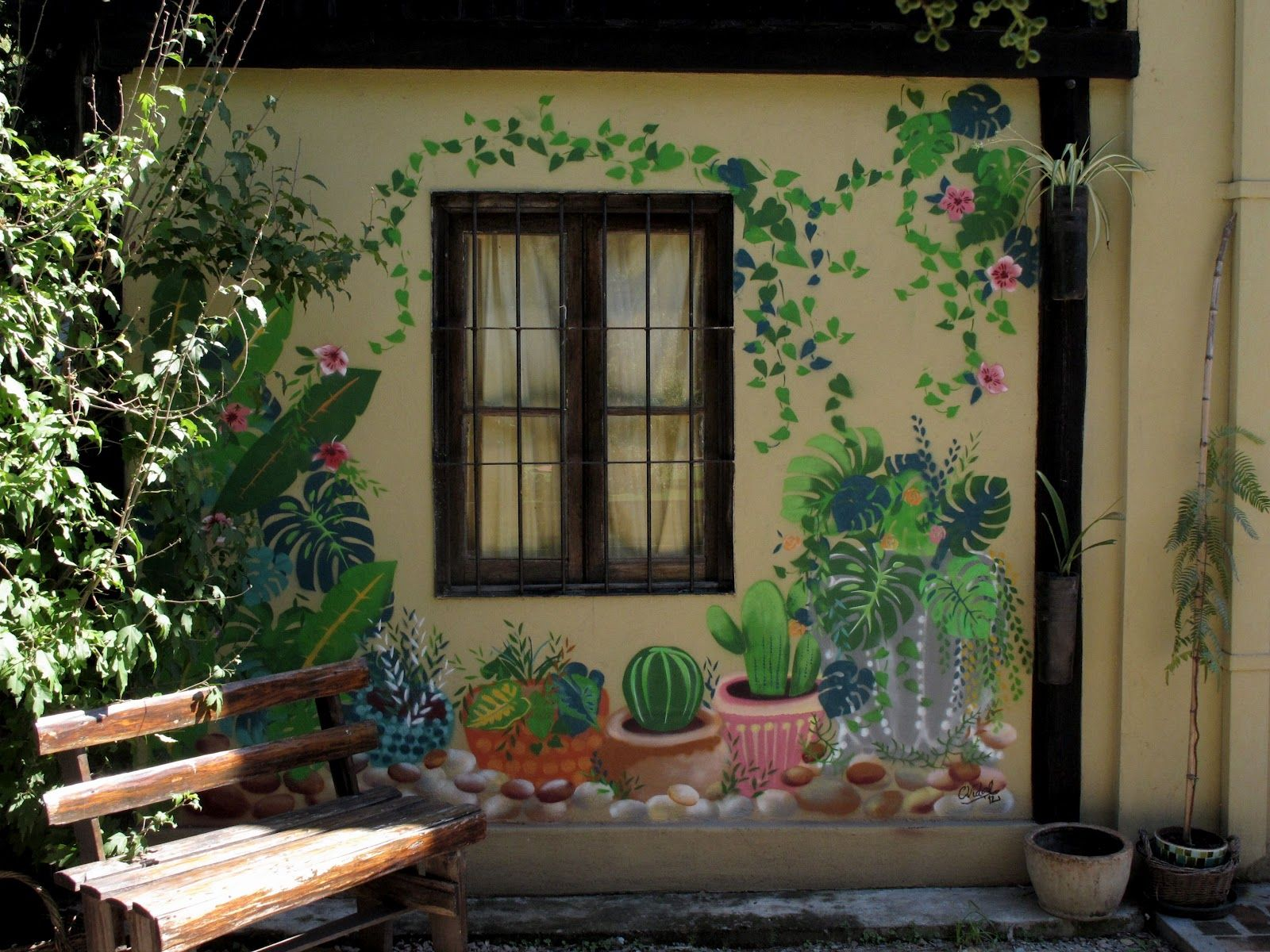 painted wall the garden starts here makes me smile. Black Bedroom Furniture Sets. Home Design Ideas