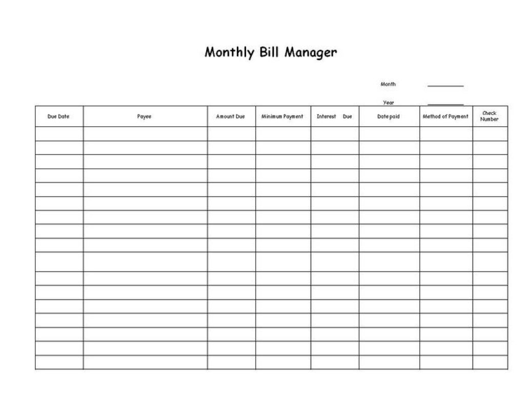 Catch Free Blank Printable Bill Paying Chart