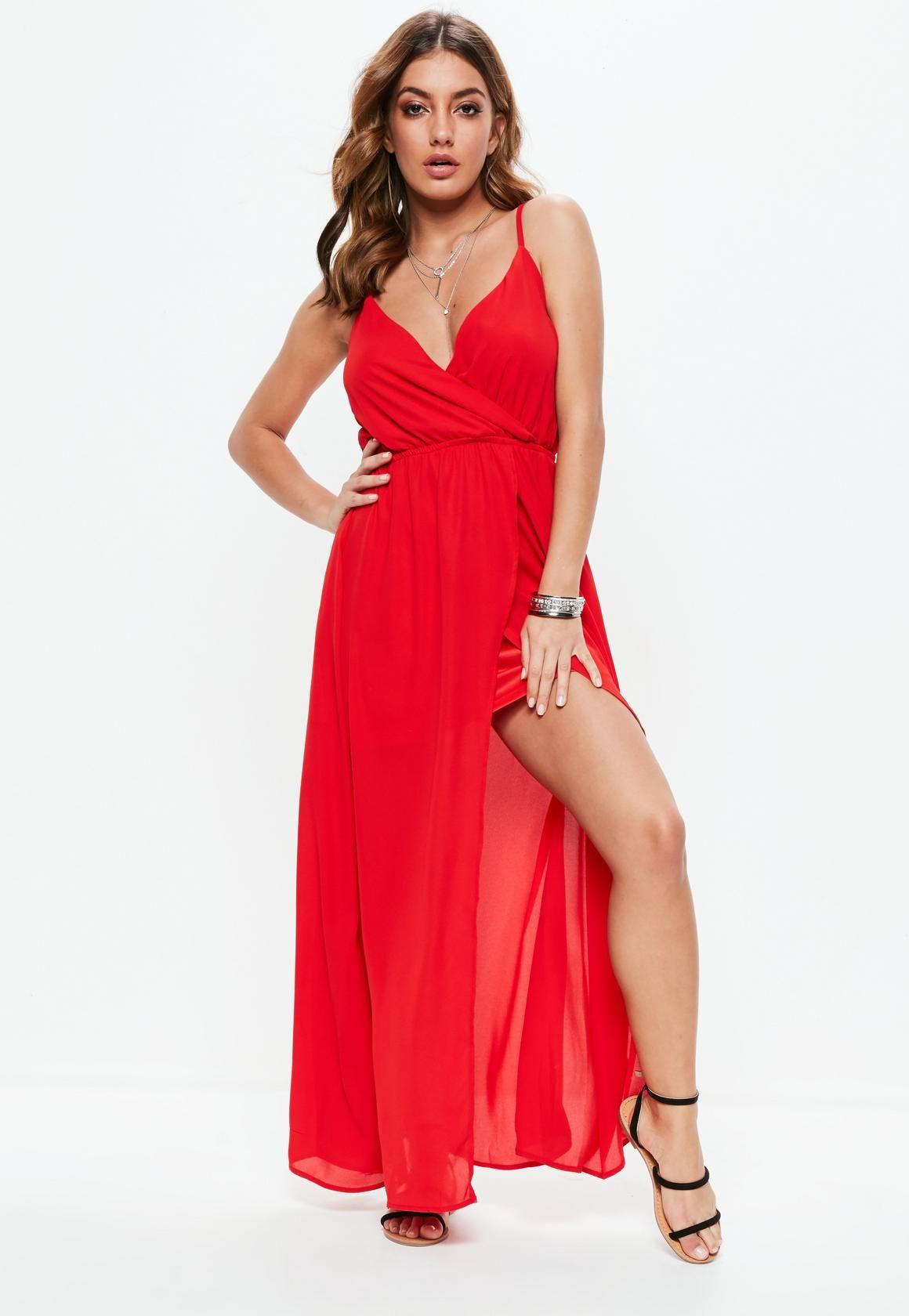 Missguided Czerwona Sukienka Maxi Na Ramiaczkach Cute Dresses Dresses Long Red Dress